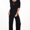 easy-fit black 3/4 sleeve top - hooked on bamboo