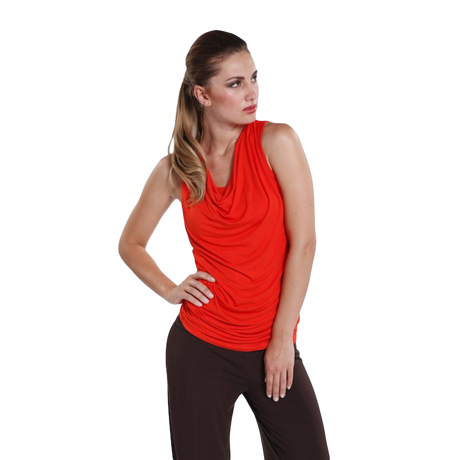 Tangarine Cowl Neck Sleeveless Top - hooked on bamboo