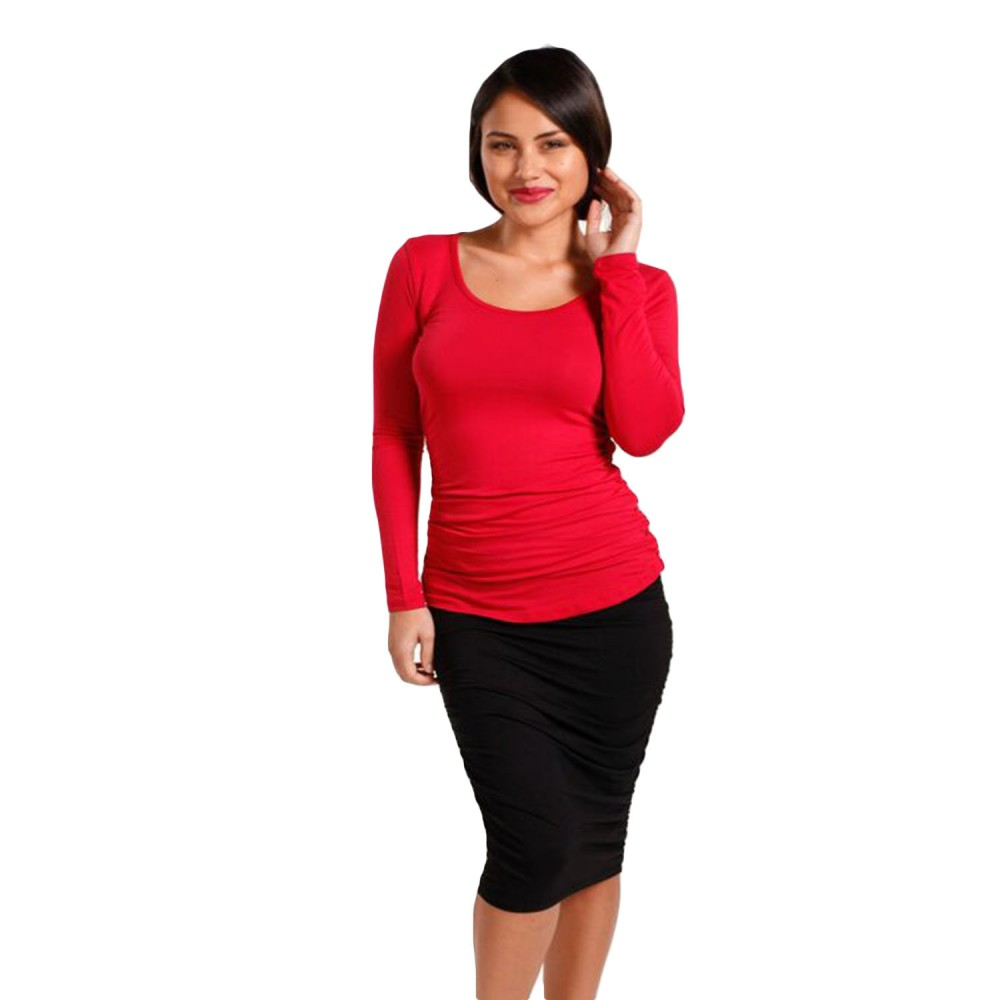 Hooked On bamboo Ruched Long Sleeve Tee