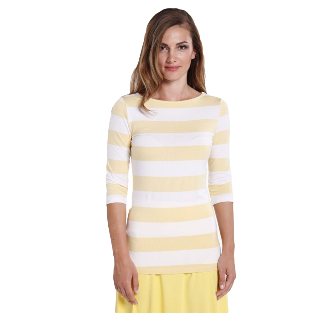 0b26fda81cab96 Yellow and White Stripe Boat Neck Top - Hooked On Bamboo