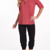 bamboo easy-fit 3/4 sleeve top marsala - hooked on bamboo